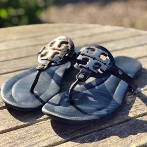 """Tory Burch black Leather """"Miller"""" sandals"""